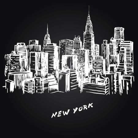 manhattan skyline: New York - hand drawn illustration