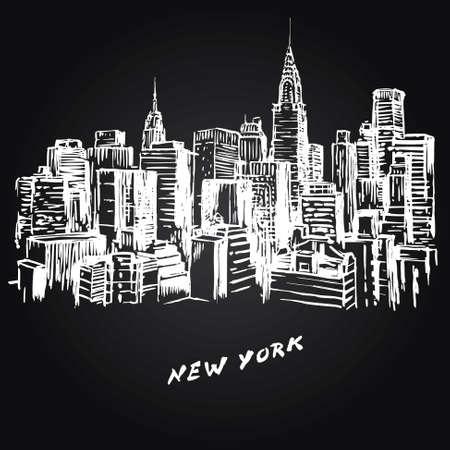noche: Nueva York - ilustración dibujados a mano