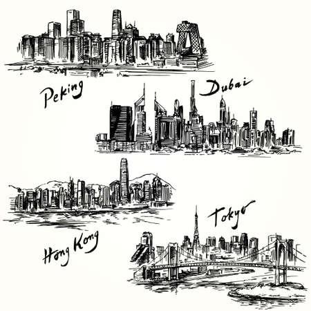 Tokyo, Peking, Hong Kong, Dubai Illustration