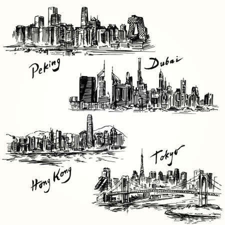 city skyline night: Tokyo, Peking, Hong Kong, Dubai Illustration