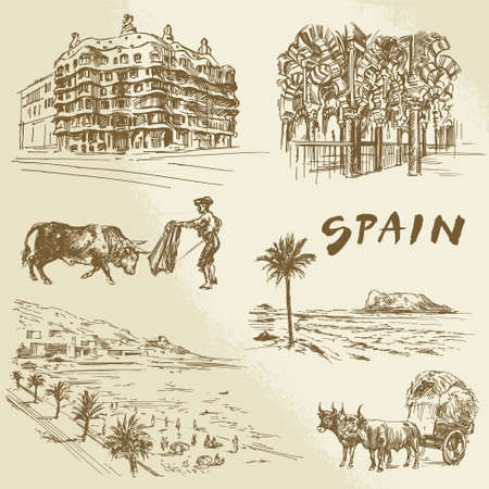 madrid spain: Spain - hand drawn collection