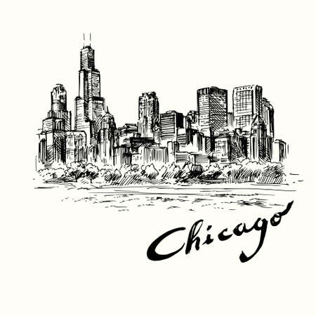 city park skyline: Chicago - hand drawn illustration Illustration
