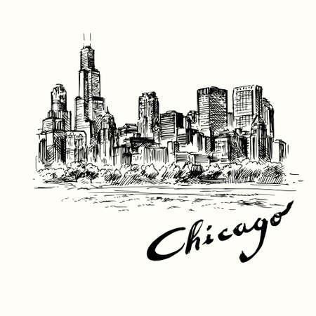 Chicago - hand drawn illustration Vettoriali