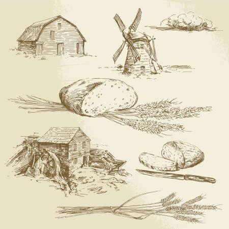 molino de agua: pan, granja - ilustración dibujados a mano