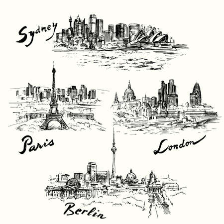 london night: Paris, Berlin, London, Sydney