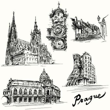 cuadrados: Praga - dibujado a mano ilustración
