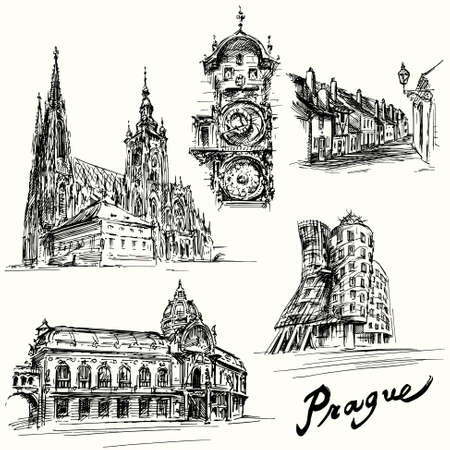 prague: prague - hand drawn illustration