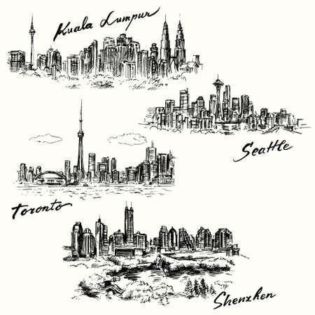 Toronto, Seattle, Kuala Lumpur, Shenzhen Vector