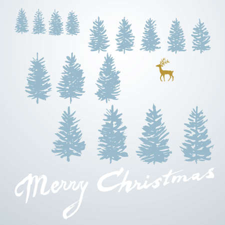 Christmas card with trees and deer Vector