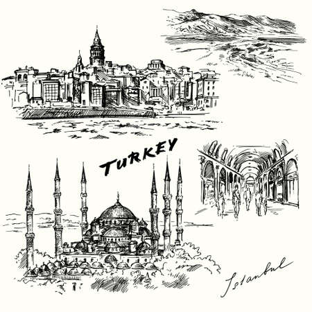 bosporus: Turkey, Istanbul - hand drawn set Illustration