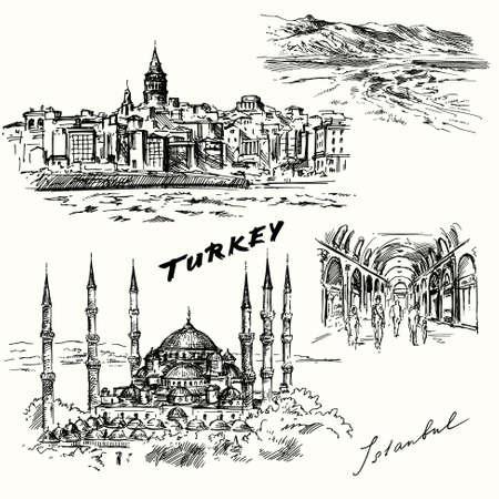 istanbul: Turkey, Istanbul - hand drawn set Illustration