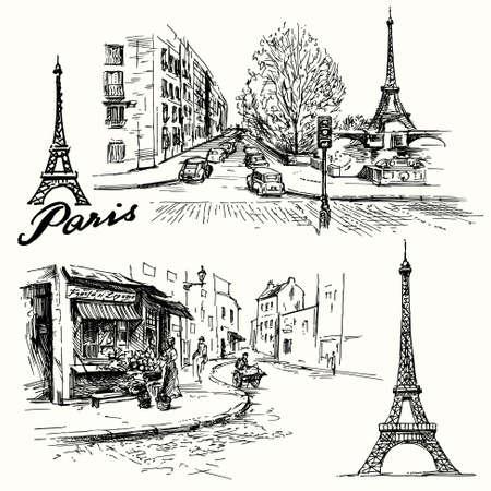 paris vintage: Francia, Par�s - Torre Eiffel - conjunto dibujado a mano