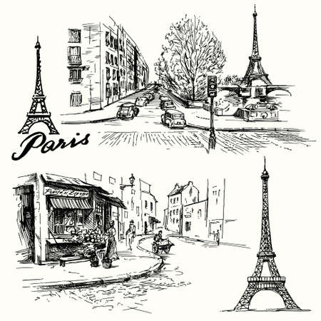 frans: Frankrijk, Parijs - Eiffel toren - de hand getekende set Stock Illustratie