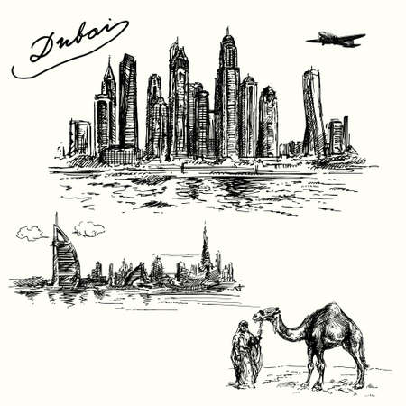 near: Dubai - hand drawn set Illustration