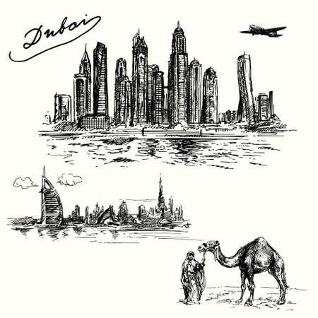 emirates: Dubai - hand drawn set Illustration