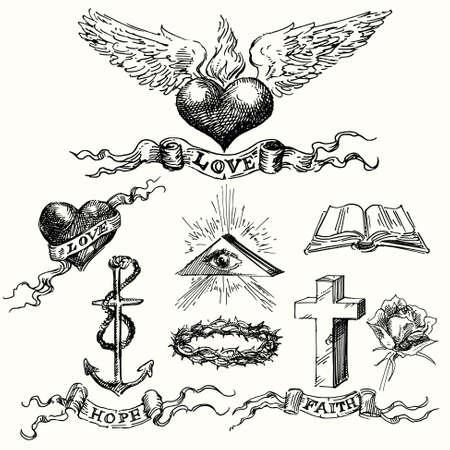 liefde en hoop iconen - de hand getekende set Stock Illustratie
