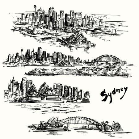 bridge hand: Sydney - hand drawn collection Illustration