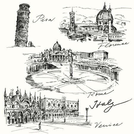 Italië - de hand getekende collectie Stockfoto - 33809126