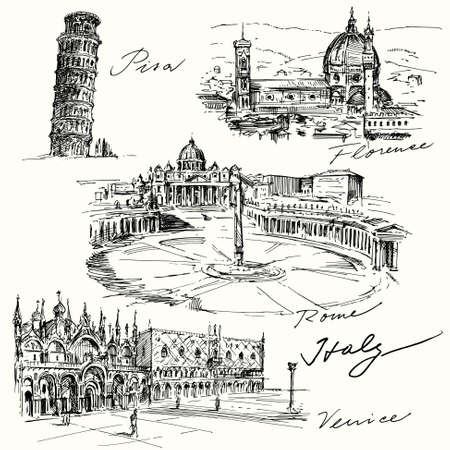 Italy - hand drawn collection Vettoriali