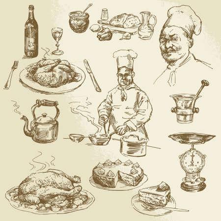 요리사, 요리 - 손으로 그린 컬렉션 일러스트