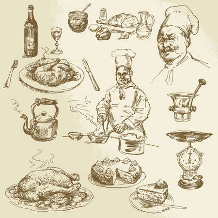 preparing: chef, cooking - hand drawn collection Illustration