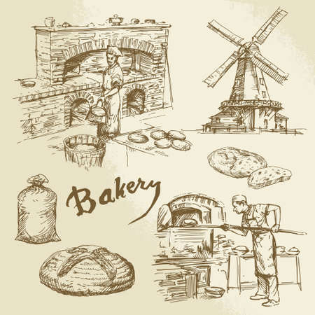 bakery products: baker, bakery, bread Illustration