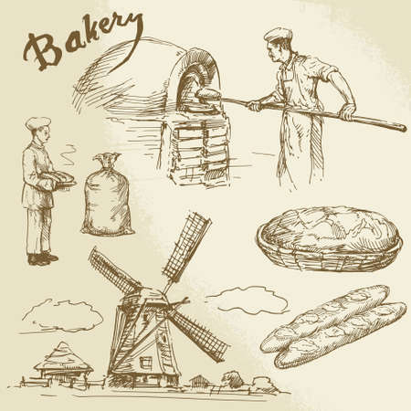 baker, bakery, bread Иллюстрация