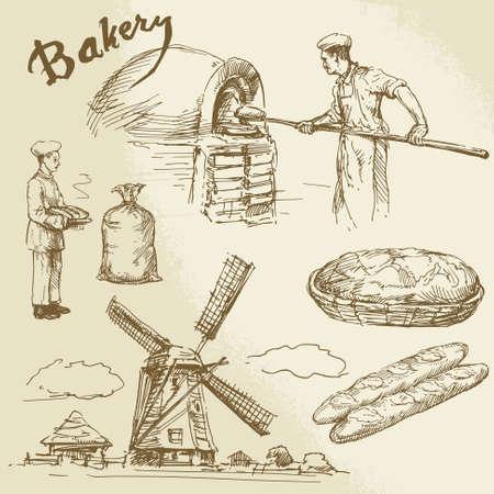 bocetos de personas: panadero, panader�a, el pan