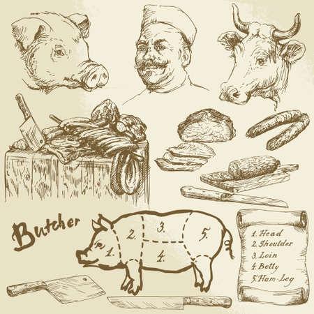 Carnicería: la carne, el carnicero - colección de dibujado a mano