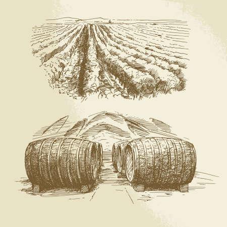 old farm: barrels, vineyard, harvest, farm - hand drawn collection