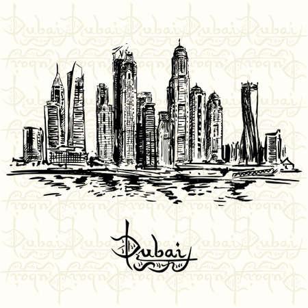emirates: Dubai - hand drawn illustration