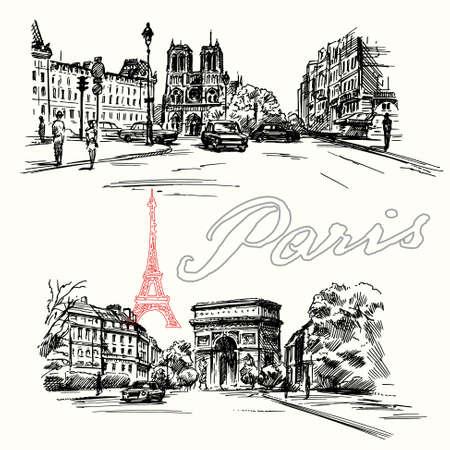 Paris - hand drawn set  イラスト・ベクター素材