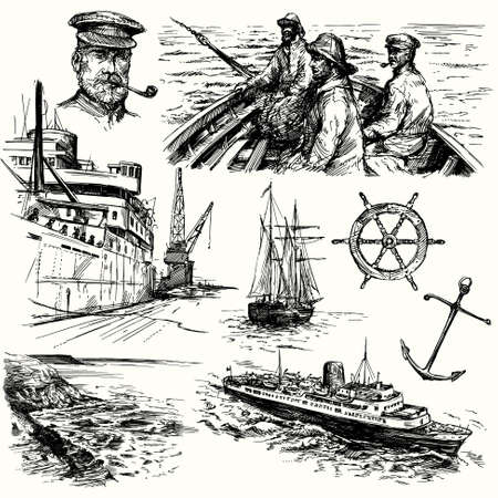 pescador: elementos n�uticos - dibujado a mano la colecci�n Vectores