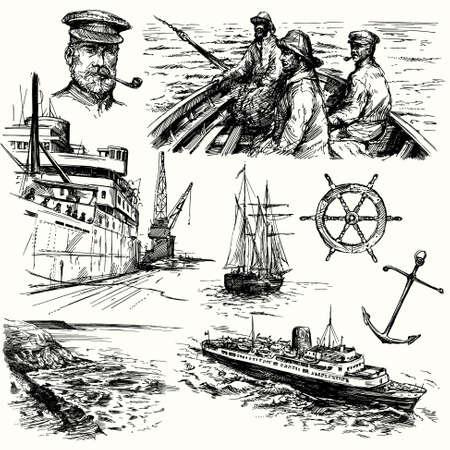 pecheur: �l�ments marins dessin�s � la main - la collecte