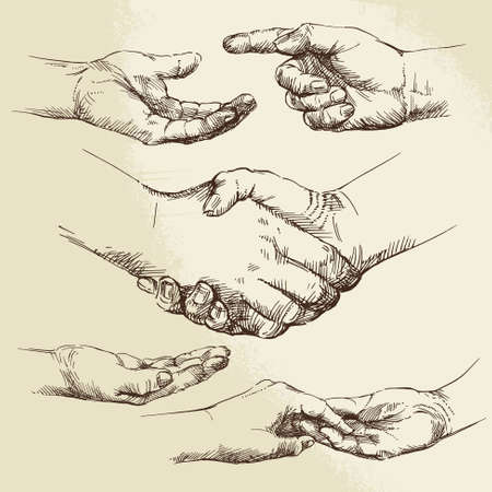 old hand: handshake - hand drawn collection Illustration