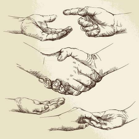 stretta di mano: stretta di mano - collezione disegnata a mano