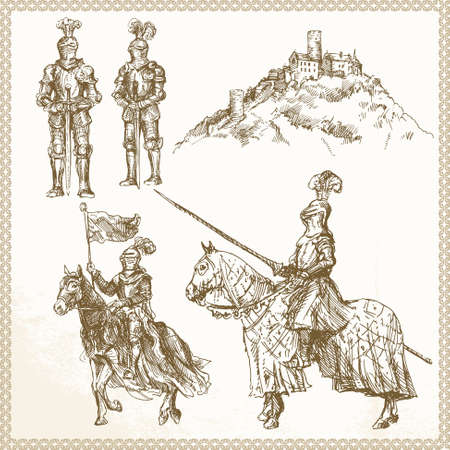 middle age: middle age knights - hand drawn set