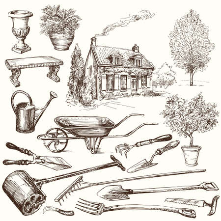 gardening equipment: gardening, garden tools - hand drawn collection