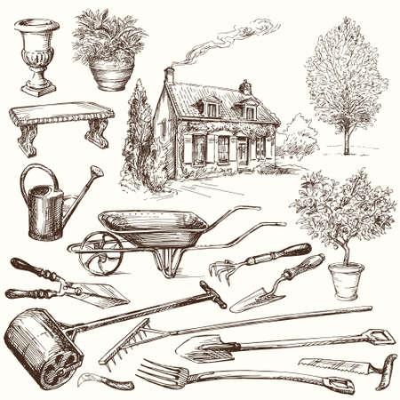 jardines con flores: jardiner�a, herramientas de jard�n - colecci�n de dibujado a mano Vectores