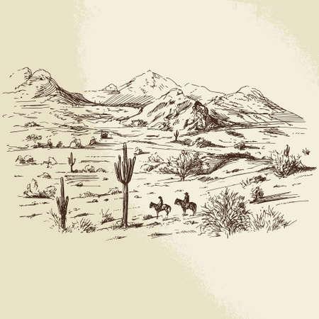 oeste: salvaje oeste - dibujado a mano ilustración Vectores