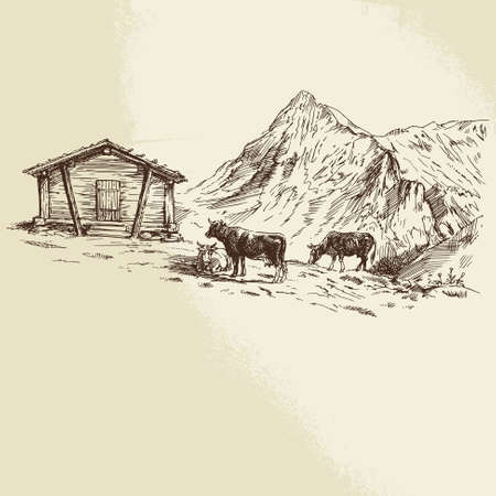 cows in mountains - hand drawn illustration