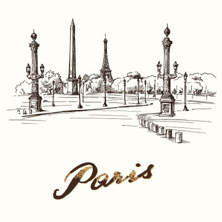 historical romance: Paris - place de la concorde - hand drawn illustration