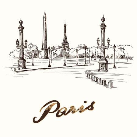 Paris - place de la concorde - hand drawn illustration