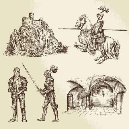 espadas medievales: caballeros de mediana edad
