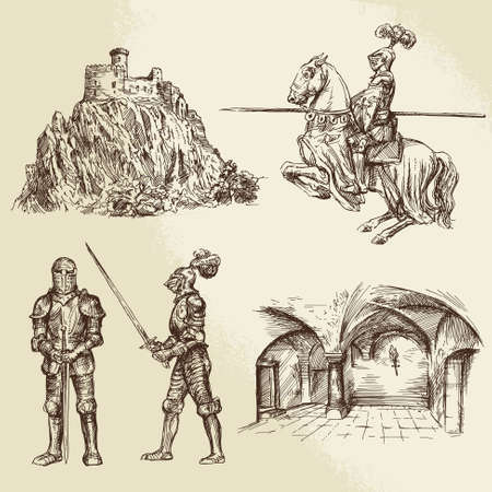 castello medievale: cavalieri medioevali Vettoriali