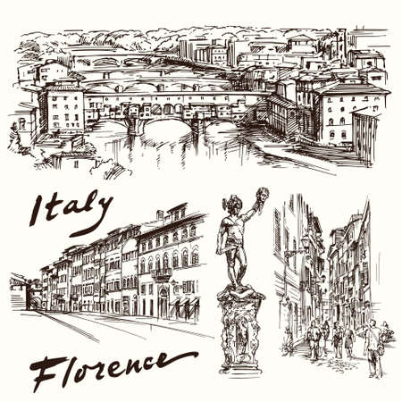 florence italy: Firenze, Italia - set disegnata a mano Vettoriali