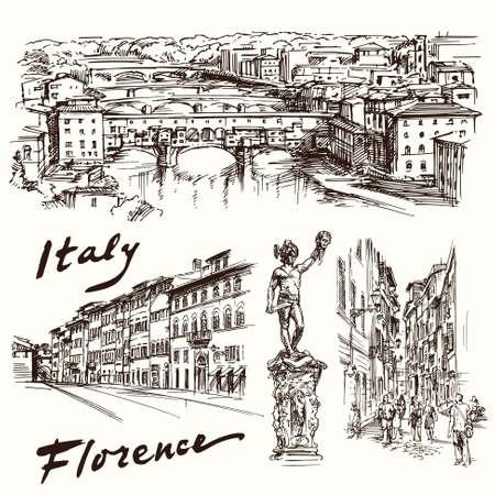 ciudad: Florencia, Italia - dibujado a mano conjunto
