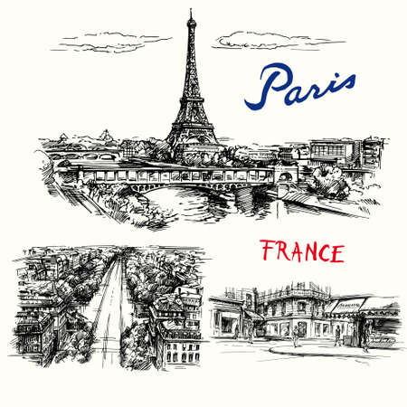 France, Paris, Eiffel tower - hand drawn vector collection Stock Illustratie