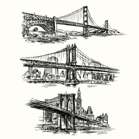 famous bridges - hand drawn set Vector