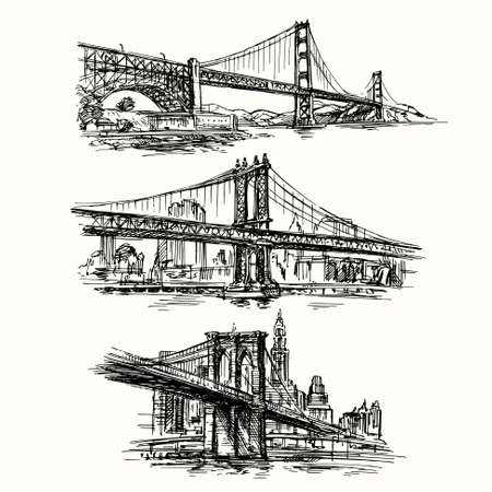 suspension bridge: famous bridges - hand drawn set